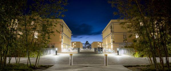 Eleanor Roosevelt College campus housing at night